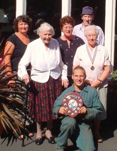 Val Roberts (activities co-ordinator), Mrs Wells (resident), Jane Neary (care manager), Emile Yardley (gardener), Martin Price (gardener) and Mrs Reid (resident)