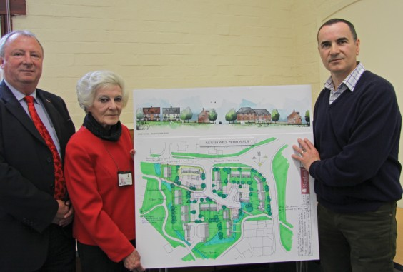 Councillors Rod Laight and Caroline Spencer with Jeremy Drew
