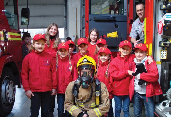 Children visiting Redditch fire station