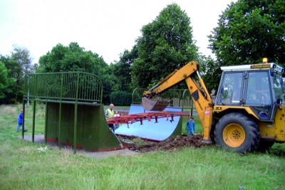 Play equipment being removed