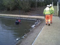 A British Waterways team check the pipes