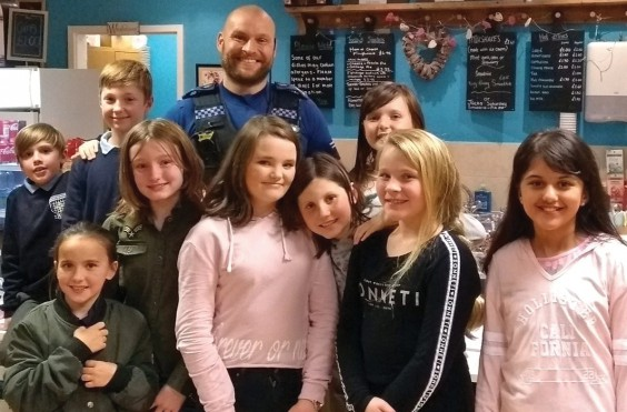 PCSO Mark Hyder with youngsters at The Lounge