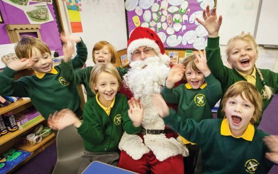 Santa drops in