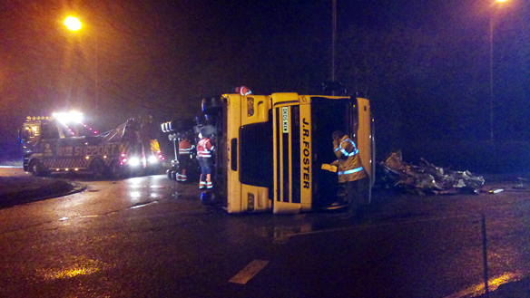 The crashed lorry at Hopwood