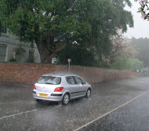 Heavy rainfall in Alvechurch