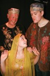 Brian Watkiss, Leah Yendell and Adam Brown as the Sultan's footmen Dilhi and Dalhi menacing heroine Sherry Zard