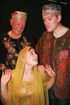 Brian Watkiss, Leah Yendell and Adam Brown as the Sultan's footmen Dilhi and Dalhi menacing heroine Sherry Zard