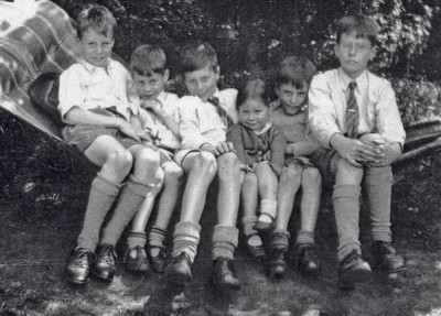 The Bantock children in about 1945: Cuillin, Gavin, Anton, Lucy, Merlin and Robin.