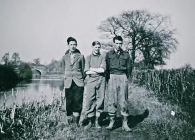 Alvechurch lads Ted Willmott, Bill Gibbs and Jim Smith near the bridge in 1950