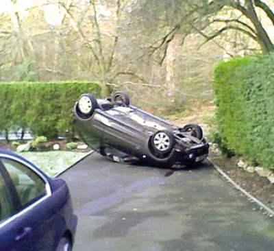 Overturned car on Barnt Green Road