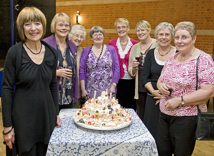 From left: Ann Thurrell, Julia Rogers (Worcester Federation Chairman), Betty Bushell, Janet Byrne, Val Kilgour, Peggy Michell, June Edwards and Elizabeth Clement.