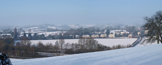 Snowy view of Alvechurch
