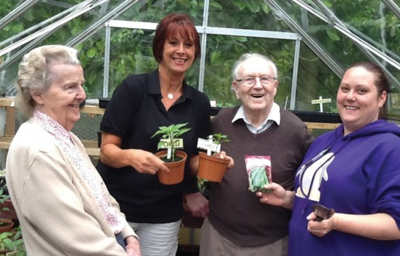 Rebecca Guy (right) with Liz Fraser of Littleheath and residents Pat and Bernard.