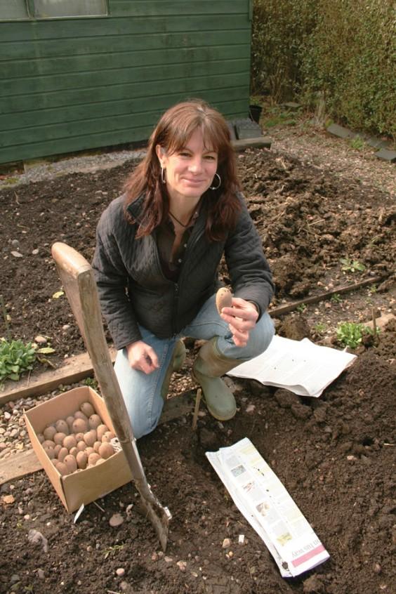 Hannah planting spuds