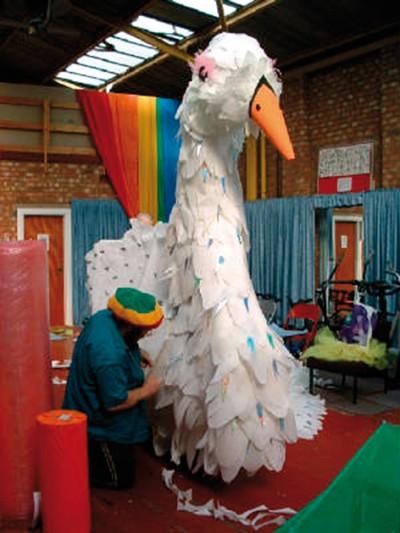 Preparing a carnival float