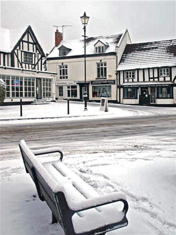Snowy Square in Alvechurch